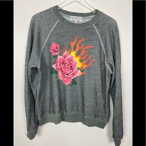 Wildfox flaming rose sweatshirt NWT